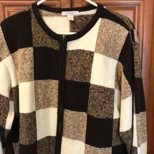 Long sleeve brown color block sweater
